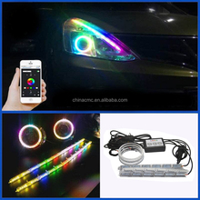 Autos Flexible Tear Eyes light RGB LED Strip DRL Light &Turn Signal For Headlight