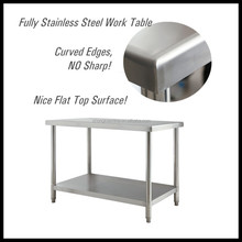 Commercial Kitchen Equipment Heavy Duty Foldable 2 layer stainless steel work bench