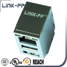 10/100/1000Base-T RJ45 2 USB Connector Jack Stack 2.0 with Transformer Modular Jack RJ45 Connector RU1-171A1Z1F
