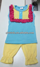 New Summer Girls 100 Soft Cotton Summer Short Suit Wholesale China Cheap Clothes Set