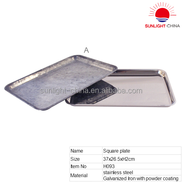stainless steel food serving tray/stainless steel square plate/metal fast food serving tray