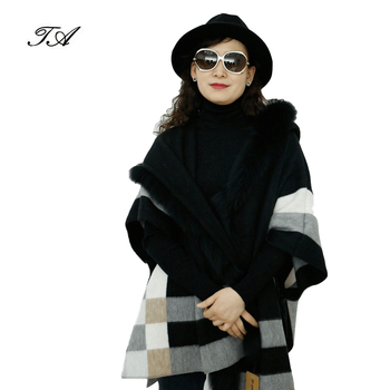 Fashion 100% Acrylic Plaid Yarn Dyed Separa Long Thick Winter Fox Fur Trim Black Cape For Women
