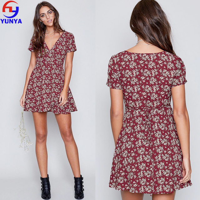2017 hot new products vintage bohemian floral v neck woman dress
