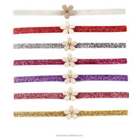HD-1603141 Plastic Flower Decorated Plain Colored Shimmery Elastic Headbands for Babies