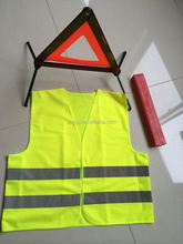 Emergency road safety kits include safety vest and warning triangle