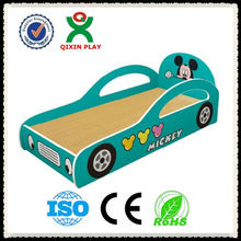 Durable kids cartoon bed for preschool/kindergarten wooden bed furniture/kids race car bed QX-B6703