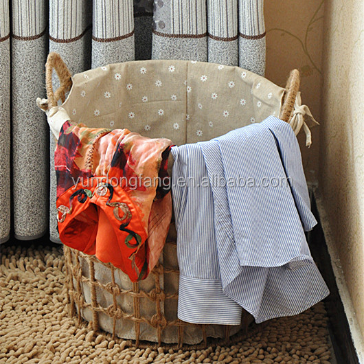 Hemp rope set 3 wicker woven dirty clothes basket with white pure cotton cloth