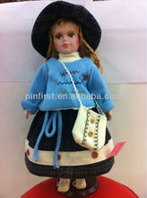 Standing Leisure Porcelain 16 Inches Dolls with Grey Dress and Fashion Bag