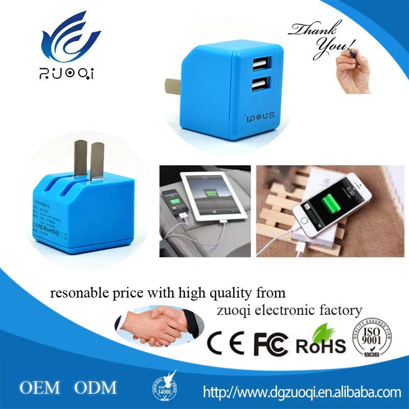 Universal foldable micro mobile phone 2 USB travel charger adapter