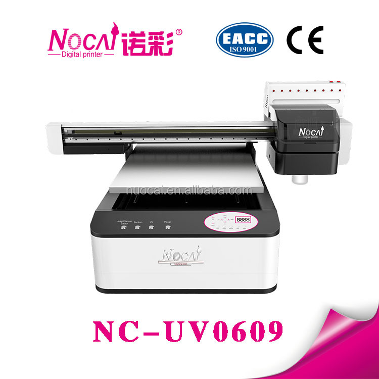 Double heads 60*90cm print size digital uv led flatbed leather printing machine for sale