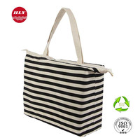 10OZ Wholesale Large Zipper Canvas Tote Shopping Bags With Pocket