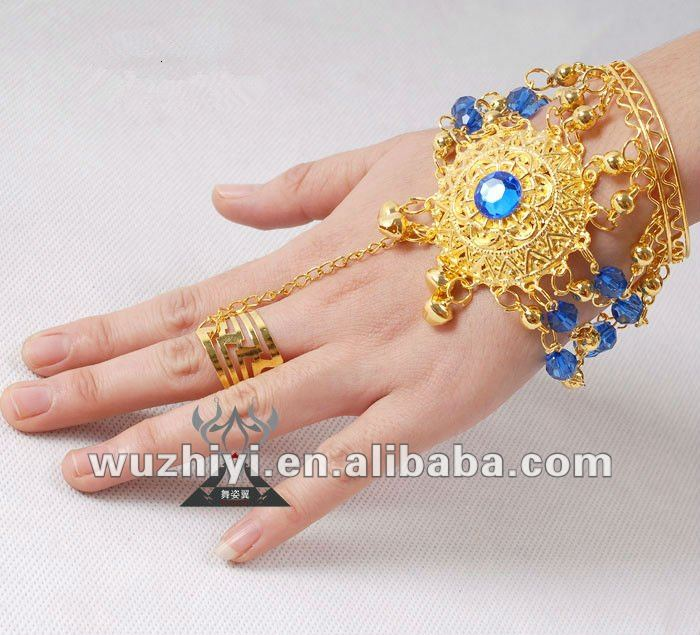 bracelet with rings has blue and red ruby suit dance performance T014