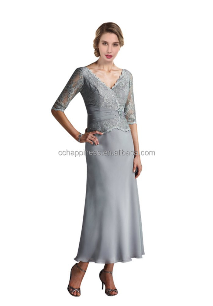 2015 Tea length V-neck chiffon mother of the bride lace dresses
