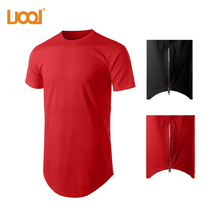 Mens Customed T Shirts Short Sleeve Tens Tall Tee Extra Long Side Zip O-Neck Wholesale T Shirts