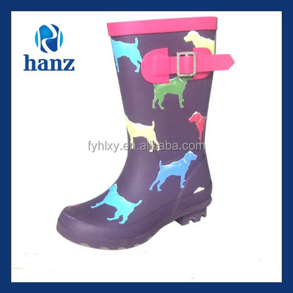 purple latest design dog printed cute water boots for children