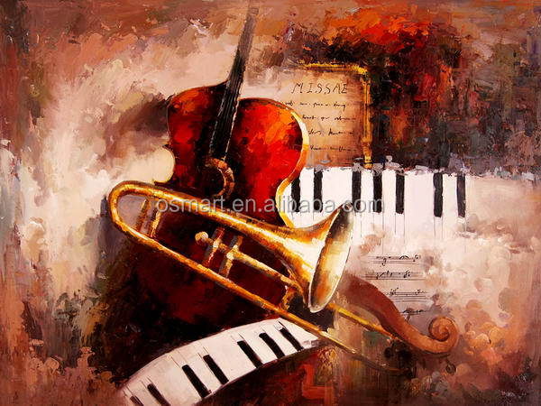 sale musical instruments abstract oil painting hotel decorative wall art guitar oil painting christmas decorations home decor