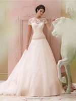 hot sell cap sleeve satin lace beaded simple bridal gowns robe pour mariage