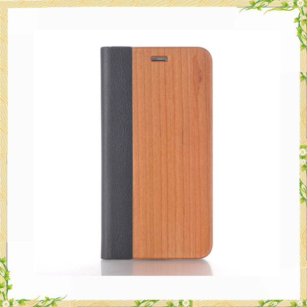 New model wood craft real leather case for iphone 8
