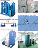 Hospital Gas system Project as oxygen manifold gas system and oil free air compressor and vacuum pump