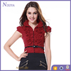 2015 Good Quality Short Sleeve Mature Women Red Shirts