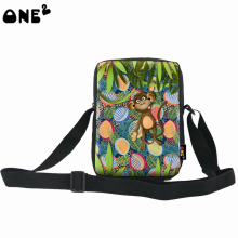 Cartoon images full printing color lovely monkey laptop messenger bag