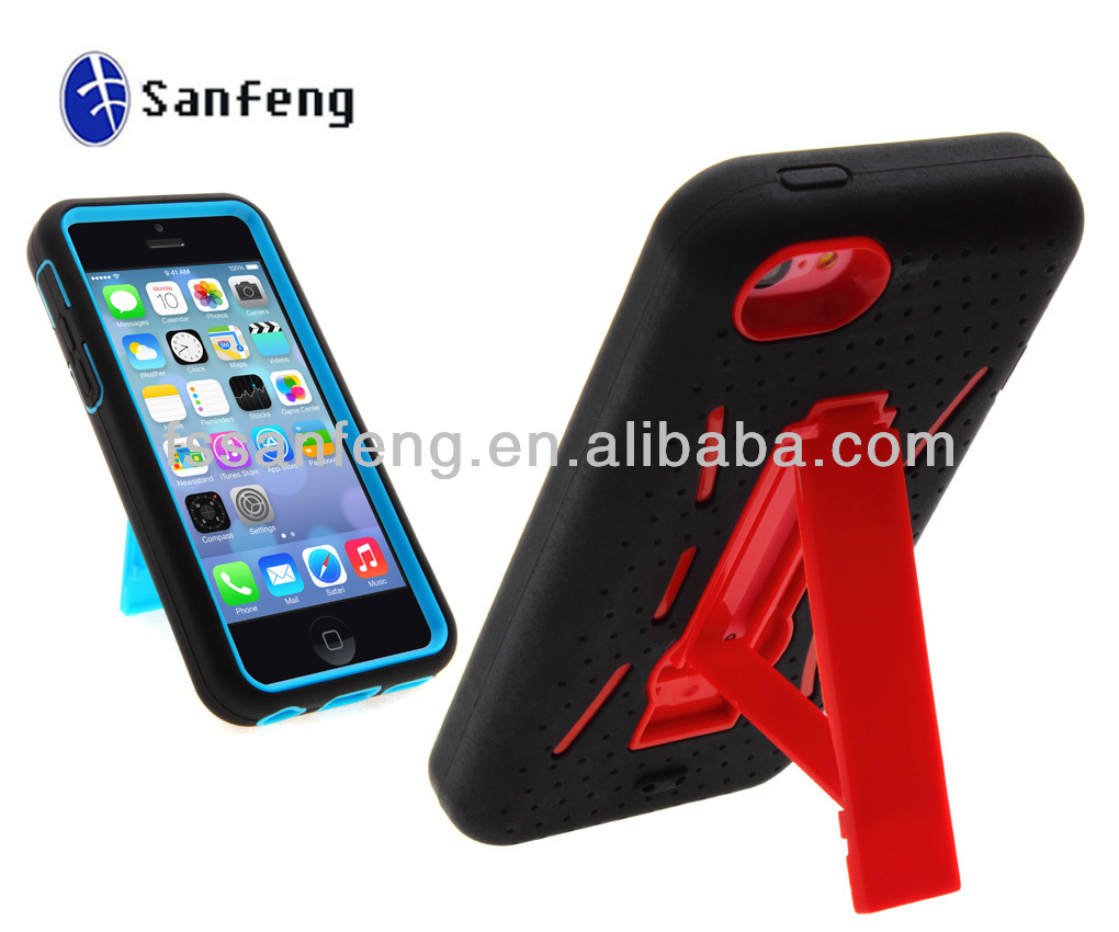 3 in 1 combo case for iphone 5c/mobile phone accessories for iphone 5c/cheap wholesale for iphone 5c stand case