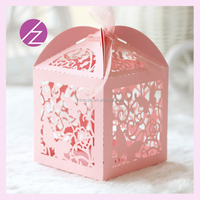 TH76 paper laser cut candy box butterfly design with free ribbon from haoze company