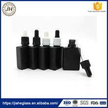 30ml Frost Black Square UV Resistant E-liquid Glass Bottles With Plastic Dropper 1oz Glass Dropper Container for Essential Oil