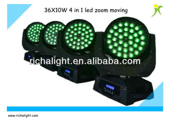 360W RGBW 4 in 1 led zoom moving head light with 12 channels