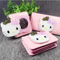 Hot sale low price cartoon HELLO KITTY bag pattern lady wallet set with mirror
