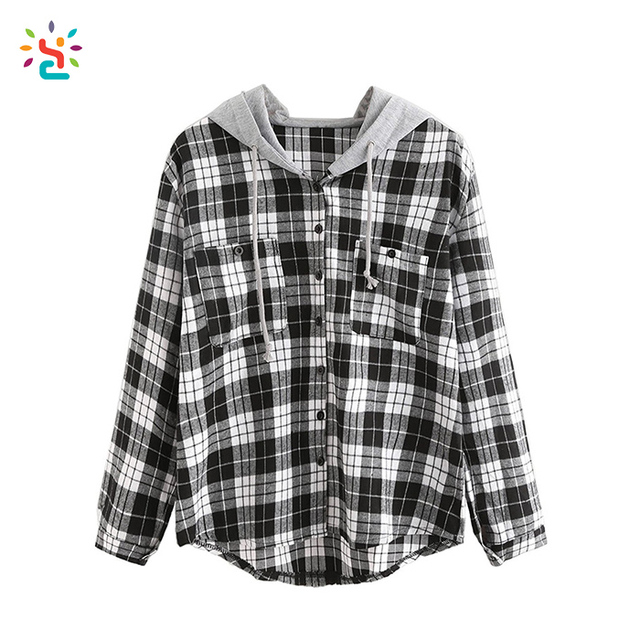 Wholesale plain hoodie women plaid shirts with chest pockets hooded sweatshirt button up long sleeve hoodie custom