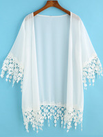 Kimonos Tops fashion women girl clothes White Half Sleeve Lace Embellished Kimono