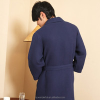 navy blue shawl collar waffle bathrobe contain 65%cotton design for men evening dress