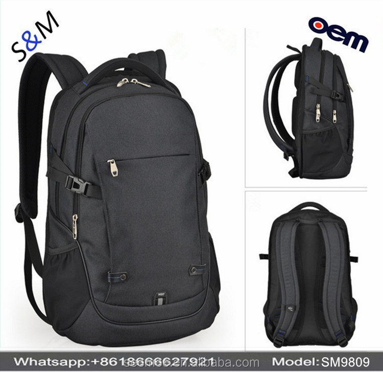 Latest Dual Computer Shoulder Backpack Bag Nylon Anti-theft Laptop Backpack Black