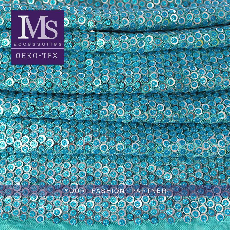 Newest Fashion shiny blue color sequin embroidery net fabric