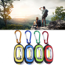 HENGBO-Outdoor tool include Mini Magnetic Small Key Chain mini Flashlight COB Super Brightness with Carabiner Flashing Light