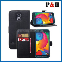 New arrival leather flip case for samsung galaxy s5,Cross Leather Wallet Case for s5