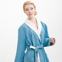 hot sex product blue shawl collar double layer microfiber girls pajamas