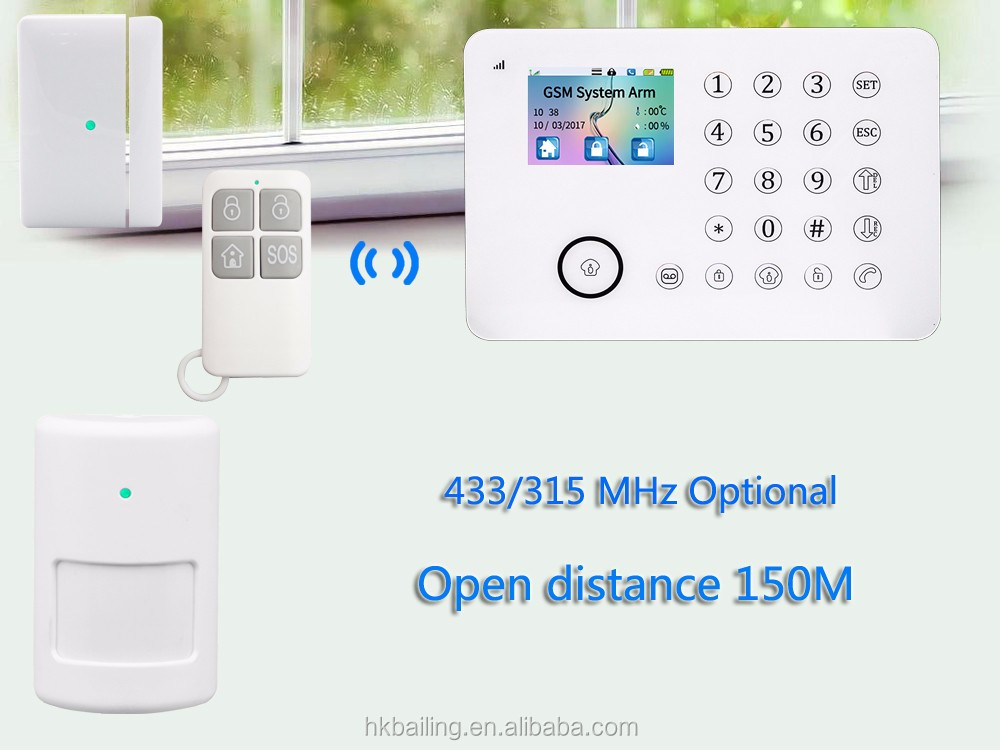 SMS APP Remote control TFT Wireless home security alarm System with 850/900/1800/1900MHZ frequency