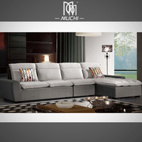 Modern Gray Armless Wooden Frame Sectional Fabric Furniture Set New L Shaped Sofa