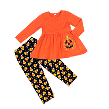 Halloween pumpkin girl sets kid clothes baby boutique outfits