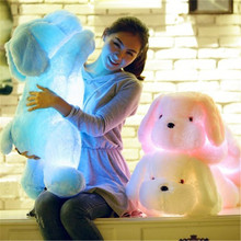 Top Quality Christmas Colorful Electric LED Light Up Lying Music Dog Plush Stuffed Toys