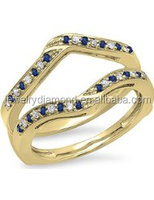 14K Gold Round Blue Sapphire & White Diamond Ladies Anniversary Wedding Band Enhancer Guard Double Rings