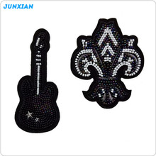 Custom high quality garment accessory embroidery black pearl patches