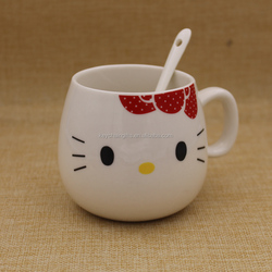 Cute 12oz white hello kitty ceramic tea mug coffee cups with spoons wholesale