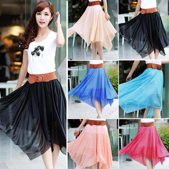 Latest Soft Irregular Pure Color Bright Black Mini Skirt Mature Women in Skirts 17159