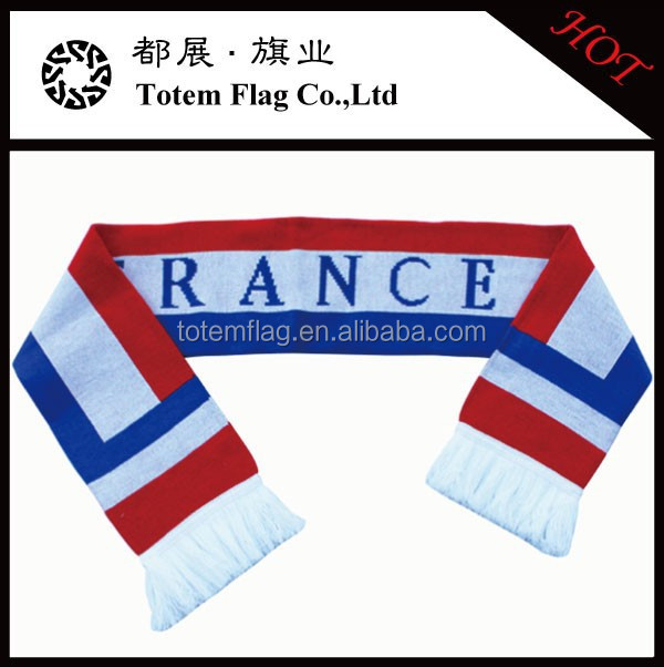Jacquard Knitted Football Sports France Flag Scarf