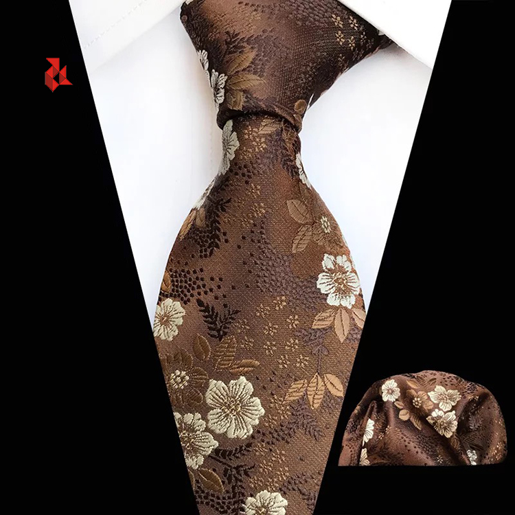 Mens Normal Novelty Small Floral Cravat Ties Flower Pattern Wedding Tie Hanky Set