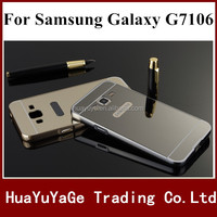 Hot selling phone case Luxury Mirror back +Bumper cover aluminum metal frame Case For Samsung Galaxy Grand 2 G7106