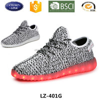 Wholesale Yeezy flykint upper illumination led light up simulation sport shoes for men and women